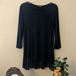 Black Blouse Top W/Sheer back Tail